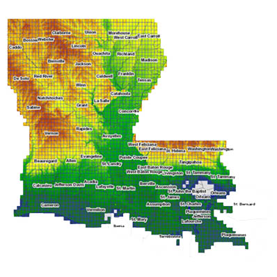 Elevation LIDAR Regional Application Center - Ground elevation map